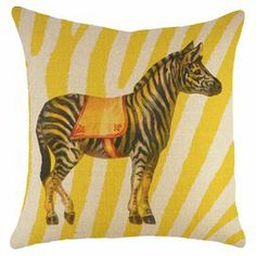 """Bring a pop of whimsical style to your sofa or favorite reading nook with this charming burlap pillow, featuring a circus zebra detail against a yellow animal-print background. Handmade in the USA.   Product: PillowConstruction Material: Burlap coverColor: Yellow and beigeFeatures: Insert included Handmade by TheWatsonShopZipper enclosureMade in the USA Dimensions: 16"""" x 16""""Cleaning and Care: Spot clean"""