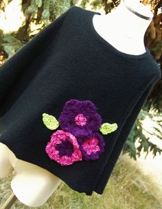Girls Wool Poncho with Crocheted Floral Detail by @BebeSophie $28 #dteam #giftforgirl