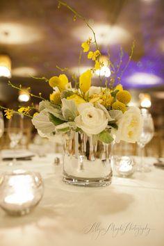 yellow centerpieces, yellow reception arrangements