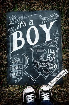 Chalkboard birth anouncement