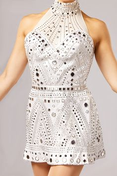 """The """"Mirror"""" costume was designed by Gregg Barnes and was introduced by the Rockettes in 2003. #rockettes #NYC #costumes #dancers #glamorous #white  #silver #sparkle #mirror"""