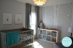 serene grey nursery with animal prints
