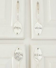 diy-kitchen-ideas- Not sure about the words but love the idea of using spoons for cabinet handles