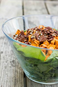 Vegan Sweet Potato, Spinach, and Mushroom Salad | #sweet potato #salad #vegan #glutenfree #recipe | http://thecookiewriter.com