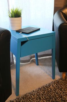 This clever nightstand has a secret! Space for a power strip and easy access to run the plug to the nearest outlet. Great for keeping your electronics charged and close at hand! Just $29.99 from IKEA. | thisoldhouse.com