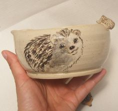 Stoneware Bowl Hand Painted Hedgehogs with by OrnaArtHeart on Etsy, $26.00