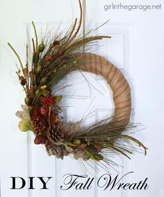 How to make a DIY fall wreath with burlap and nature-inspired sprigs. girlinthegarage.net #bestofDIY