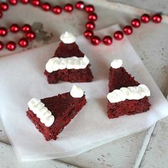 Red Velvet Santa Hat Brownies - Add this recipe to your meal plan. get.ziplist.com/clipper