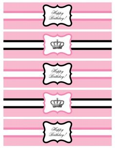 Free printable princess party water bottle labels!