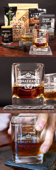 My dad will absolutely love sipping whiskey from a personalized glass. Here's to a classy Father's Day gift! #mancrates//