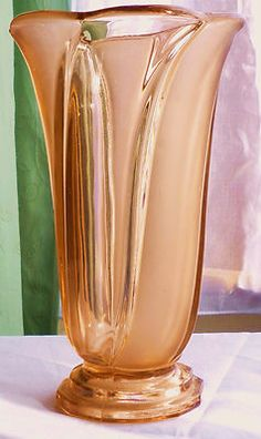Genuine Antique c1930's Art Deco Rose Pink Depression Glass Vase | eBay