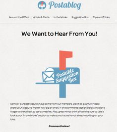 Postablog   Suggestion Box http://blog.postable.com/we-want-to-hear-from-you/