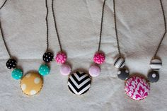 cover necklac, cover button, button necklace, craft idea, buttons, necklaces, craft getaway