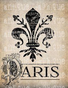 Antique Paris France Fleur de Lis Ornate Illustration Digital Download for Tea Towels, Papercrafts, Transfer, Pillows, etc Burlap No 2905 via Etsy