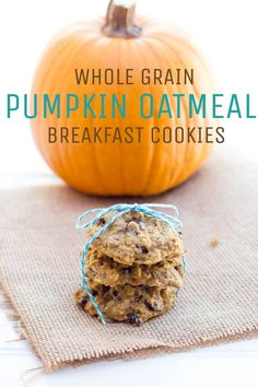 Pumpkin Oatmeal Breakfast Cookies — Lightly sweet, and packed with healthy ingredients, these cookies are a perfect grab-and-go breakfast or snack!