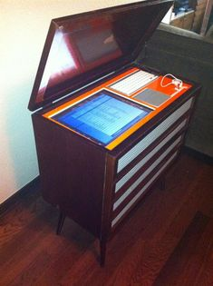 """Before & After: 1960's Stereo Cabinet Turned Into 50,000 Song """"Porta-Party"""" - this is one of the best ideas I have seen"""