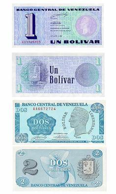 Billetes de 1 Bolivar y de 2 Bolivares