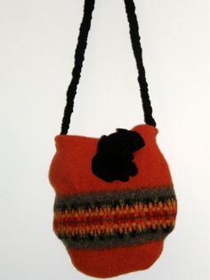 Felted Tote Hand Bag Orange Black color for Halloween Fall