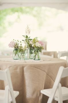 Burlap tablecloth...the seams add a nice, different look.