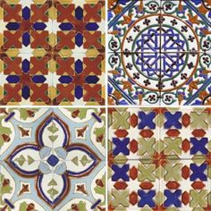 Four Moorish.Cuenca tiles.