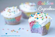 GORGEOUS rainbow cupcakes | Happier Homemaker