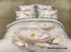 #flowers #beddingset #elegant White Lotus Flower Bedding Sets  Buy link->http://goo.gl/O66NSt http://www.beddinginn.com/product/New-Arrival-Elegant-White-Lotus-Flower-Print-4-Piece-Bedding-Sets-10887027.html