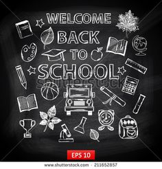 Chalk board Welcome back to school,with thematic elements:school bus,chemical flasks,apple,cup,graduate cap,pencil,book,microscope,alarm clock,autumn leaves,globe,a scroll,a ruler,a basketball - stock vector