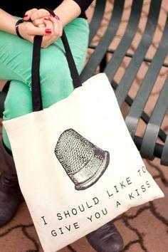 Peter Pan Thimble Kiss - Canvas Tote Bag (You Choose Handle Color). $10.00, via Etsy.