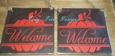 12 x 12 Pumpkin welcome signs with rope hanger