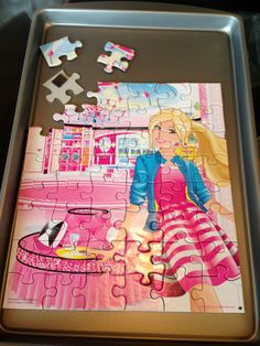 For traveling with kids: use a cookie sheet and stick magnets to the back of puzzle pieces for an activity board