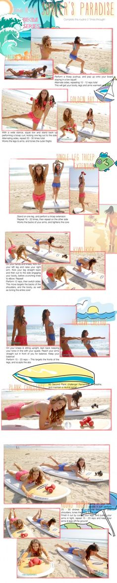Define yourglutes,abs,armsANDback with this Surfer's Paradise workout!