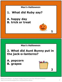 Max's Halloween by Rosemary Wells is the focus of these 12 guided reading task cards. A response form is provided for students and an answer key is given for the teacher. A printable worksheet with text identical to the task cards is included for students who need an alternative format.