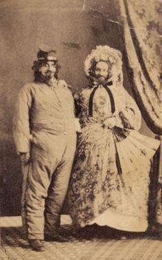 C 1865 Zany CDV Civil War Confederate Satire Soldier w Cross Dresser Man Lady