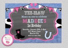 Cowgirl Birthday Invitation #cowgirl #birthdayinvitation #denim