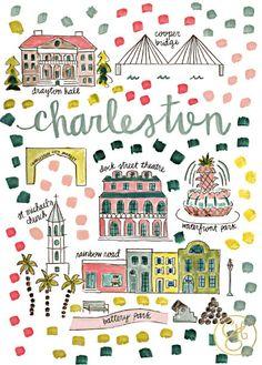 Charleston Map Print by EvelynHenson on Etsy