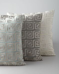Greek Key Metallic Accent Pillow at Neiman Marcus.