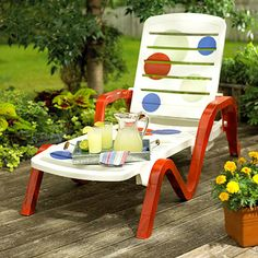 Plastic outdoor furniture is inexpensive and easy to move, but often lacks style. No problem with a little paint.