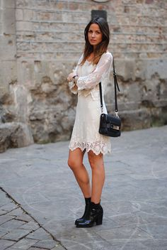 Lace dress with black boots