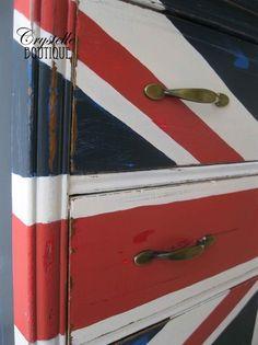 Close Up of English Flag Old Dresser
