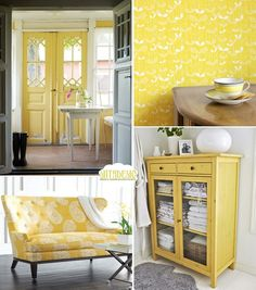 yellow furnitures #yellow, #home #decoration #door #sofa #wallpaper.... I used to hate yellow and now it's really growing on me .... Esp like the wallpaper :) interior, the doors, front door, happy colors, yellow furniture, corner cabinets, yellow houses, home decorations, couches