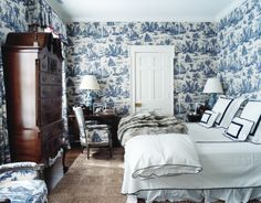 Toile Bedroom in Aerin Lauder's Hamptons House