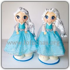 Elsa fofucha dolls.  Handmade foam dolls. my version of Elsa from Frozen. Stands at 12 inches. She can be a perfect centerpiece, caketopper for a frozen theme party.  Visit us at www.facebook.com/FofuchasHandMadeDolls #Frozen #Elsa #kidsBirthday #kidscrafts