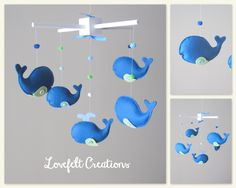 Baby Mobile - Custom Baby Mobile - Whale Mobile - Pottery Barn Jackon - You can pick your colors :). $90.00, via Etsy.