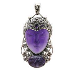 Silver by Sajen Sterling Silver Amethyst Chaorite Goddess Pendant