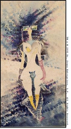 The Rather Odd Myopic Woman Riding Piggyback on One of Helen's Many Cats by Ted Geisel