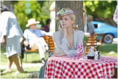 Pictured below is Jaime King as Lemon Breeland in the new TV show Hart of Dixie. Jaime is wearing a LOUISE GREEN Doll Hat in a lavender sisal straw trimmed with lavender and green florals with vintage veiling.