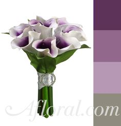 Calla Lily Pre-made bouquet; purple and grey color combo, learn more about purple as your wedding color in our blog post.