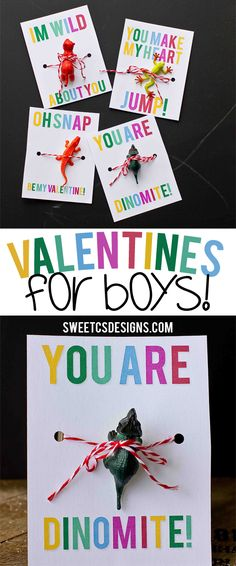 Valentines for boys- 4 awesome free printables! Just add a toy!