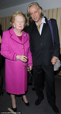 He famously attacked her in the press for refusing to waive VAT on the legendary Band Aid single in 1984 – she later relented - but Sir Bob Geldof and Baroness Margaret Thatcher put their differences behind them by 2008 as they chatted at a Rudyard Kipling Poetry reading at the British Library.