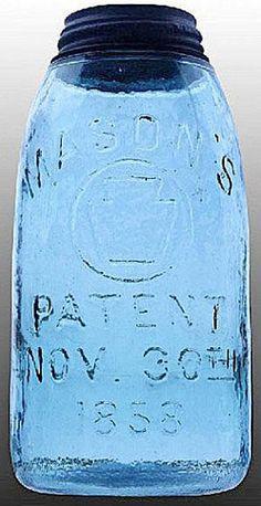 Mason's, Circle Keystone, Patent Nov 30th 1858, Blue, 12 Gallon.A half-gallon deep ball blue Mason's Circle Keystone glass fruit or canning jar
